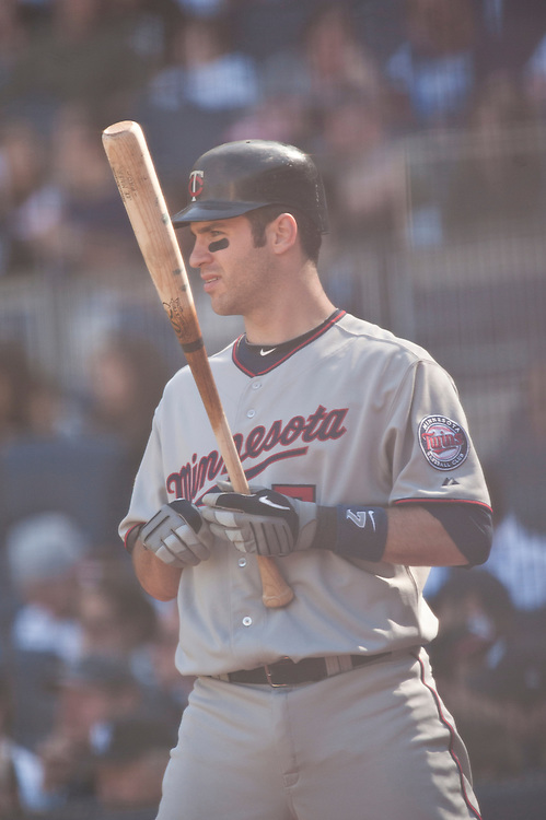 NEW YORK - MAY 16: Joe Mauer #7 of the Minnesota Twins bats against the New York Yankees at Yankee Stadium on May 16, 2010 in the Bronx borough of Manhattan. The Twins defeated the Yankees 6 to 3. (Photo by Rob Tringali) *** Local Caption *** Joe Mauer