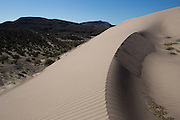 Giant sand dunes just outside of Boquillas del Carmen attract the occasional tourist to ride a sled or repurposed snowboard down the sandy slopes.