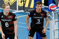 26-10-2019 NED: Talentteam Papendal - Draisma Dynamo, Ede<br /> Round 4 of Eredivisie volleyball - Luuk  Hofhuis #6 of Talent Team, Markus Held #3 of Talent Team
