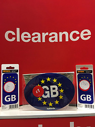 © London News Pictures. 03/05/2017.  Northern Ireland. A clearance sale of GB EU car bumper stickers at a Halfords car parts store in Northern Ireland. Photo credit: Paul McErlane/LNP