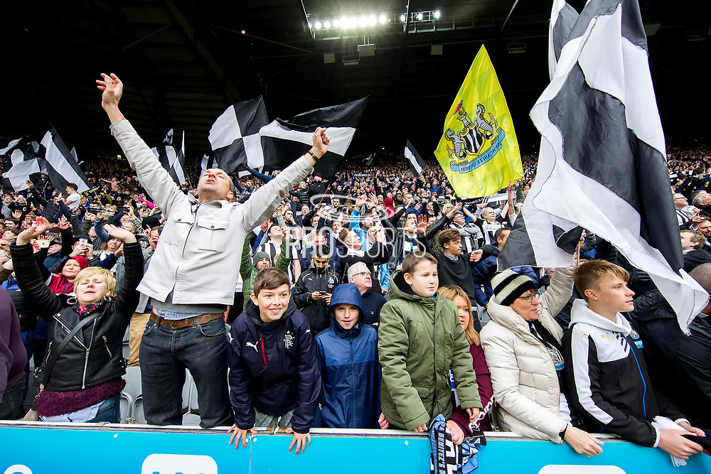 Newcastle United fans celebrate winning the EFL Sky Bet Championship following the EFL Sky Bet Championship match between Newcastle United and Barnsley at St. James's Park, Newcastle, England on 7 May 2017. Photo by Craig Doyle.