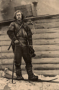 Fridtjof Nansen (1861-1930) Norwegian Arctic explorer, scientist and diplomat. Nobel prize for peace 1920. Nansen on skis in the summer of 1896 at the time of his return to Franz-Joseph Land after his unsuccessful attempt to reach the North Pole. Engraving.