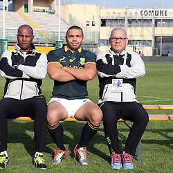 PADUA, ITALY - NOVEMBER 21: JJ Fredericks Logistics Manager with Bryan Habana and Charles Wessels Operational Head during the South African national rugby team photograph and captains run at Stadio Euganeo on November 21, 2014 in Padua, Italy. (Photo by Steve Haag/Gallo Images)