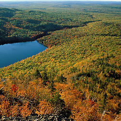 Baxter State Park, ME. Lower South Branch Pond from Traveller Mtn. Northern Hardwood Forest. Fall.