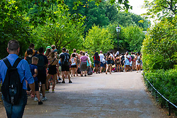 People have been queueing for an hour or more to get in to the Lido on The Serpentine in Hyde Park as temperatures soar beyond the mid-thirties in London. London, July 25 2019.