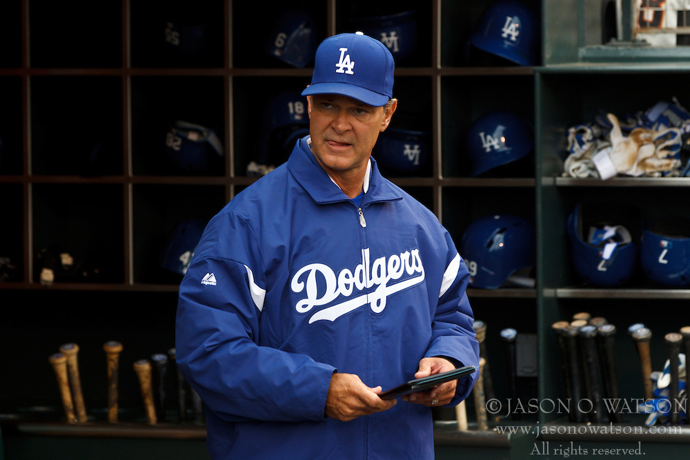 SAN FRANCISCO, CA - MAY 05: Don Mattingly #8 of the Los Angeles Dodgers stands in the dugout before the game against the San Francisco Giants at AT&T Park on May 5, 2013 in San Francisco, California. The San Francisco Giants defeated the Los Angeles Dodgers 4-3. (Photo by Jason O. Watson/Getty Images) *** Local Caption *** Don Mattingly