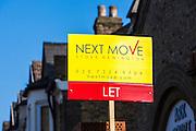Next Move 'Let' sign outisde a property on Alkham Road, Stoek Newington N16.