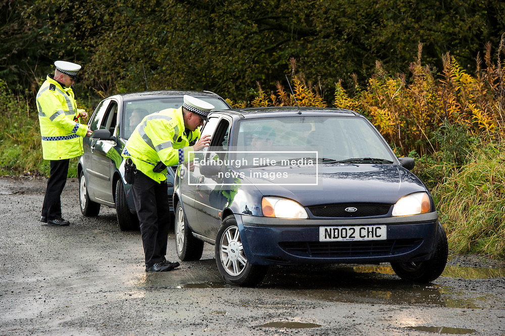 Pictured: <br /> <br /> Police Scotland luanched a series of vehicle checks to be carried out by the Lothians and Scottish Borders Division Road Policing Unit. Inspector Roddie MacMillan oversaw the checks which are part of activity taking place across Scotland this week to help drivers get ready for winter, ensuring their vehicles are maintained and they are aware of the different hazards the changing seasons and weather can bring. <br /> <br /> Ger Harley   EEm 18 October 2016