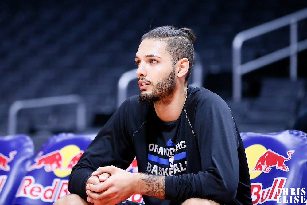 03 December 2014: Orlando Magic guard Evan Fournier (10) rests prior to the Los Angeles Clippers 114-86 victory over the Orlando Magic, at the Staples Center, Los Angeles, California, USA.