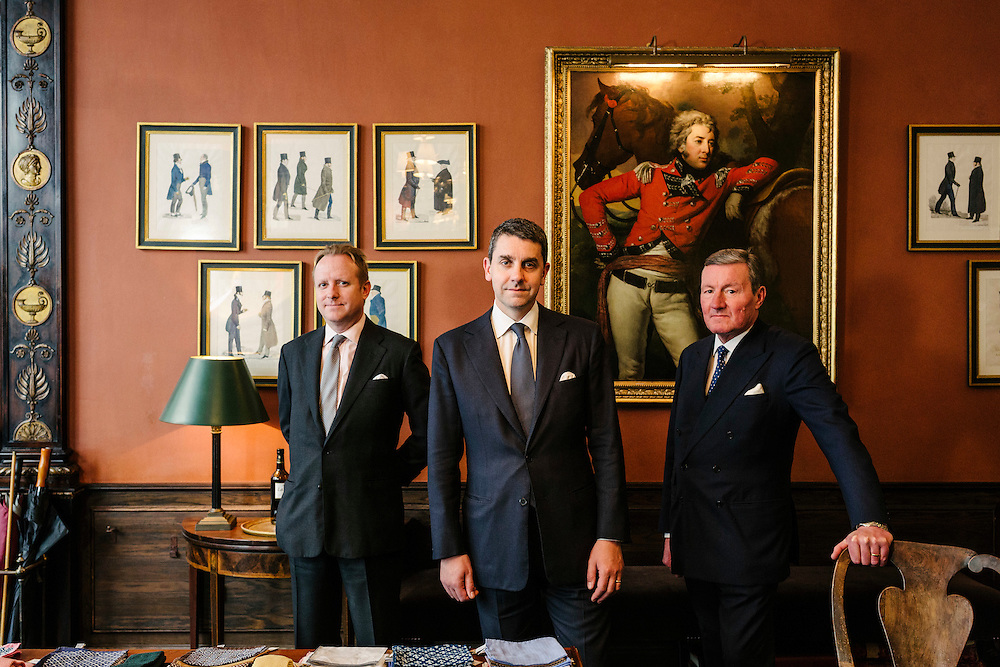 Staff at the bespoke tailors, Anderson & Sheppard. The shop is located around the famous Saville's Row in London.