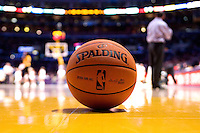 17 December 2006:  The new NBA basketball sits on the court during a timeout during the Washington Wizards 147-141 victory over the Los Angeles Lakers at the STAPLES Center in Los Angeles, CA.<br />
