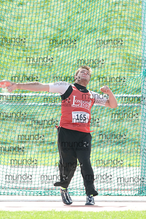 (Sherbrooke, Quebec---10 August 2008) Scott Rumble competing in the youth boys discus at the 2008 Canadian National Youth and Royal Canadian Legion Track and Field Championships in Sherbrooke, Quebec. The photograph is copyright Sean Burges/Mundo Sport Images, 2008. More information can be found at www.msievents.com.