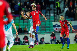 Roman Bezjak of Slovenia and Kyle Walker of England during football match between National teams of Slovenia and England in Round #3 of FIFA World Cup Russia 2018 qualifications in Group F, on October 11, 2016 in SRC Stozice, Ljubljana, Slovenia. Photo by Grega Valancic / Sportida