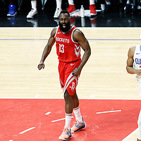 28 February 2018: Houston Rockets guard James Harden (13) reacts next to LA Clippers forward Wesley Johnson (33) during the Houston Rockets 105-92 victory over the LA Clippers, at the Staples Center, Los Angeles, California, USA.
