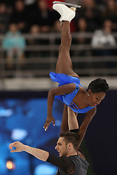 January 17, 2018 - Moscow, Russia - Vanessa James and Morgan Cipres of France perform their short program in the pair competition at the 2018 ISU European Figure Skating Championships, at Megasport Arena in Moscow. (Credit Image: © Igor Russak/NurPhoto via ZUMA Press)