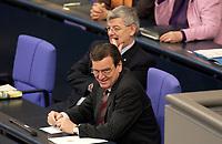 19 DEC 2003, BERLIN/GERMANY:<br /> Joschka Fischer (Hi), B90/Gruene, Bundesaussenminister, und Gerhard Schroeder (Vorn), SPD, Bundeskanzler, waehrend der Sondersitzung des Bundestages zur Abstimmung ueber das Reformpaket zu Steuern und Arbeitsmarkt, Plenum, Deutscher Bundestag<br /> IMAGE: 20031219-01-007<br /> KEYWORDS: Gerhard Schröder