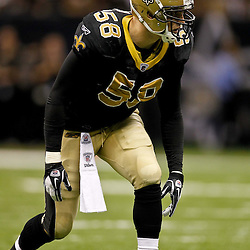 January 1, 2012; New Orleans, LA, USA; New Orleans Saints linebacker Scott Shanle (58) against the Carolina Panthers during the second half of a game at the Mercedes-Benz Superdome. The Saints defeated the Panthers 45-17. Mandatory Credit: Derick E. Hingle-US PRESSWIRE