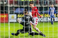 ALKMAAR - 25-01-2017, AZ - sc Heerenveen, AFAS Stadion, SC Heerenveen keeper Erwin Mulder, AZ speler Mattias Johansson