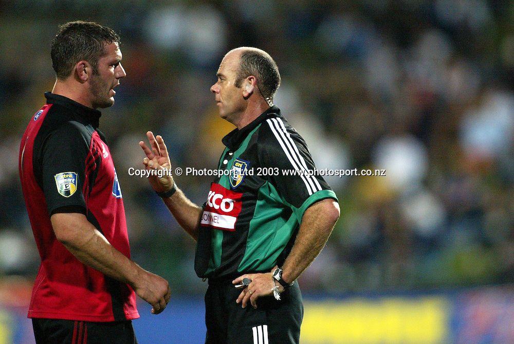 8th March 2003, North Harobur Stadium, Auckland, New Zealand. Super 12 Rugby Union, Blues v  Crusaders.<br />