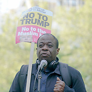 US Embassy, London,England,UK.14th April 2017. Weyman Bennett  of Unite Against Fascism protest against US President threatens Nuclear strike on North Korea outside US Embassy,London,UK. by See Li