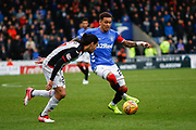James Tavernier of Rangers gets by Ryan Edwards of St Mirren during the Ladbrokes Scottish Premiership match between St Mirren and Rangers at the Simple Digital Arena, Paisley, Scotland on 3 November 2018.