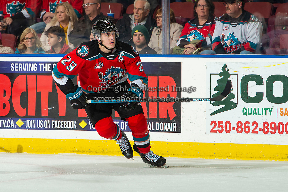 KELOWNA, BC - NOVEMBER 20: Nolan Foote #29 of the Kelowna Rockets skates against the Victoria Royals  at Prospera Place on November 20, 2019 in Kelowna, Canada. Foote was selected in the 2019 NHL entry draft by the Tampa Bay Lightning. (Photo by Marissa Baecker/Shoot the Breeze)