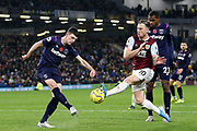 Burnley forward Ashley Barnes (10) blocks the clearance from West Ham United midfielder Declan Rice (41) during the Premier League match between Burnley and West Ham United at Turf Moor, Burnley, England on 9 November 2019.