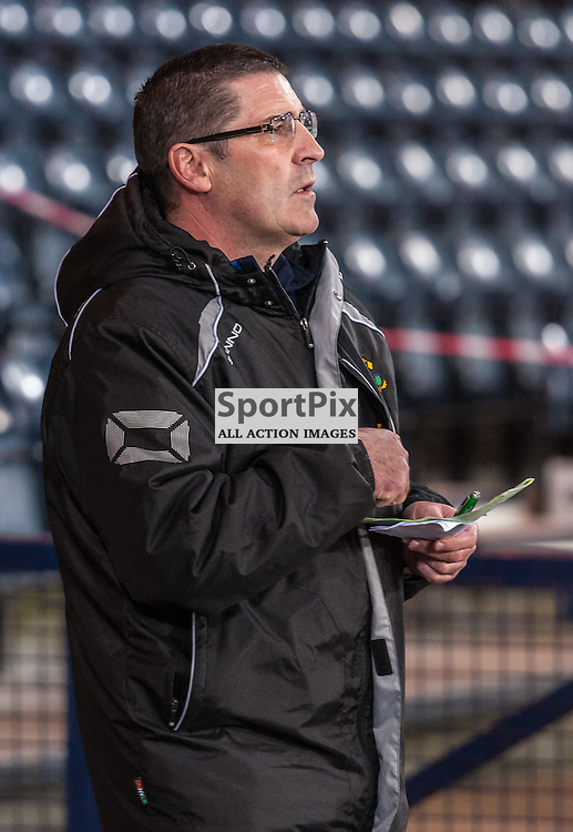 Jim Chapman (Annan Athletic manager) consults his teamlines - Queen's Park v Annan Athletic - Ladbrokes League 2 - 15 March 2016 - © Russel Hutcheson | SportPix.org.uk