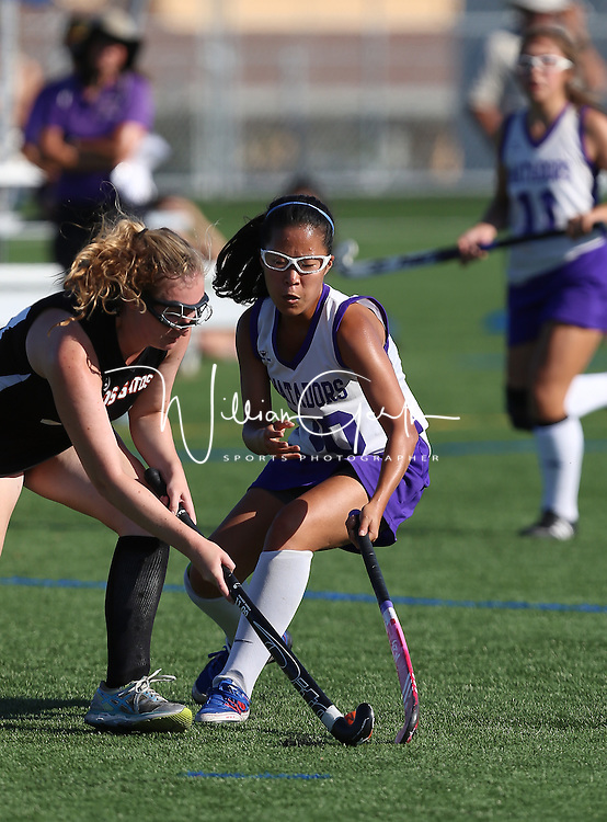 (Photograph by Bill Gerth for SVCN) Monta Vista #30 Estelle Yoo and Los Gatos #24 Anne Kraus battle in a Girls Field Hockey Game at Monta Vista High School, Cupertino CA on 9/16/16.  (Los Gatos 10 Monta Vista 0)