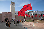 Red flags in the streets celebrate visit of the king, Essaouira, Morocco