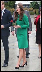 The Duchess of Cambridge  lays a red rose at the war memorial in the town of  Cambridge in New Zealand, Friday, 11th April 2014. Picture by Stephen Lock / i-Images