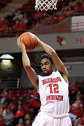 29 November 2014:  Tony Wills grabs a rebound during an NCAA men's basketball game between the Youngstown State Penguins and the Illinois State Redbirds  in Redbird Arena, Normal IL.