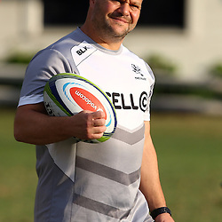 DURBAN, SOUTH AFRICA - MAY 03: Omar Mouneimne (Defence coach) of the Cell C Sharks during the Cell C Sharks training session at Growthpoint Kings Park on May 03, 2016 in Durban, South Africa. (Photo by Steve Haag/Gallo Images)