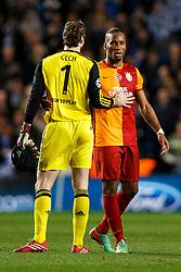 Chelsea Goalkeeper Petr Cech (CZE) is congratulated by Galatasaray Forward Didier Drogba (CIV) - Photo mandatory by-line: Rogan Thomson/JMP - 18/03/2014 - SPORT - FOOTBALL - Stamford Bridge, London - Chelsea v Galatasaray - UEFA Champions League Round of 16 Second leg.