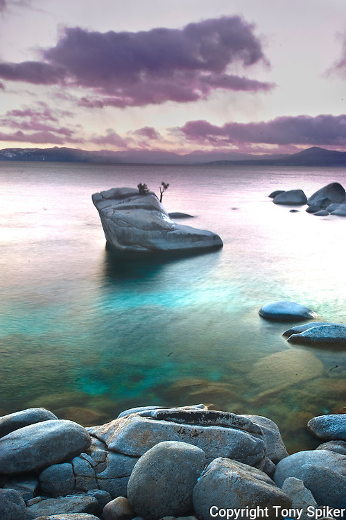 """Bonsai Rock Sunset 2"" - The sun sets over Bonsai Rock on Lake Tahoe's Eastern shore"
