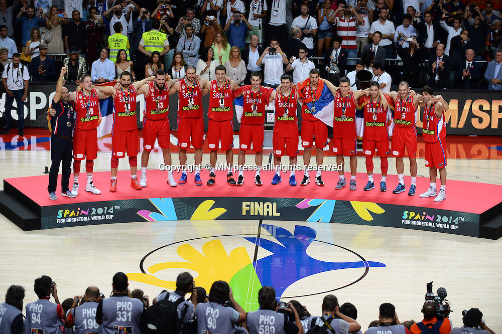 TEAM of Serbia basketball team in action during Final FIBA World cup match against United states of America, Madrid, Spain Photo: MN PRESS PHOTO<br /> Basketball, Serbia, United states of America, Final, FIBA World cup Spain 2014
