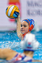 21-01-2020 HUN: European Water polo Championship, Budapest <br /> Slovakia - Netherlands 2—32 / Brigitte Sleeking #12 of Netherlands during LEN European Aquatics Waterpolo on January 21, 2020. SVK vs Netherlands in Duna Arena in Budapest, Hungary