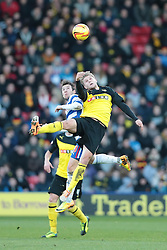 Reading's Adam Le Fondre and Watford's Alexander Merkel challenge for the ball - Photo mandatory by-line: Nigel Pitts-Drake/JMP - Tel: Mobile: 07966 386802 11/01/2014 - SPORT - FOOTBALL - Vicarage Road - Watford - Watford v Reading - Sky Bet Championship