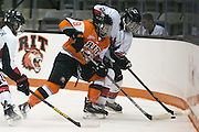RIT's Lindsay Stenason fights for a puck in the corner during an exhibition game at RIT's Gene Polisseni Center on Monday, September 29, 2014.
