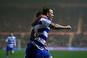 Reading striker Simon Cox (31) scores a goal and celebrates to make the score 1-1  during the Sky Bet Championship match between Middlesbrough and Reading at the Riverside Stadium, Middlesbrough, England on 12 April 2016. Photo by Simon Davies.