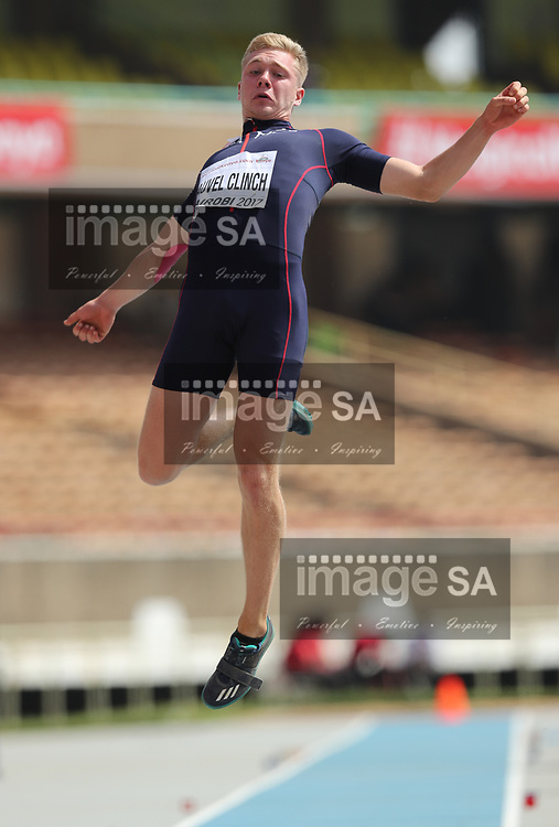 NAIROBI, KENYA - 12 July 2017, Steven Fauvel Clinch of France in the long jump of the mens decathlon during the morning session on Day 1 of the IAAF World U18 Championship held at the Kasarani Stadium in Nairobi, Kenya.<br /> Photo by Roger Sedres/ImageSA