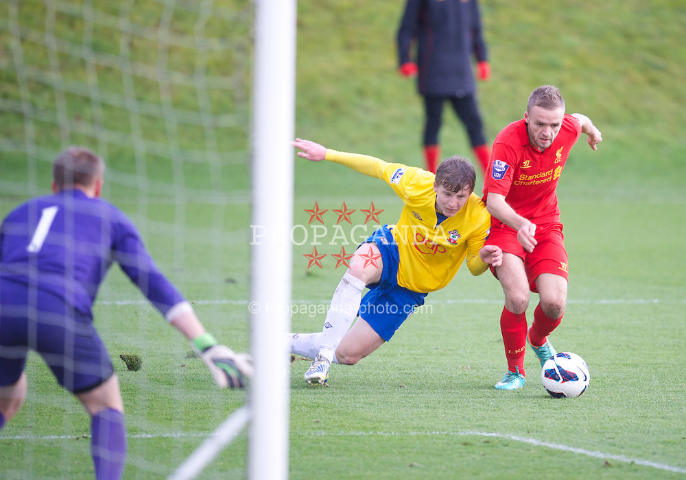 KIRKBY, ENGLAND - Monday, January 14, 2013: Liverpool's Ryan McLaughlin in action against Southampton during the Under 21 FA Premier League match at the Kirkby Academy. (Pic by David Rawcliffe/Propaganda)