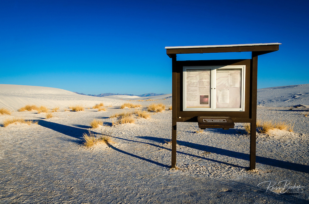Kiosk at the Alkali Flat trailhead, White Sands National Monument, New Mexico USA