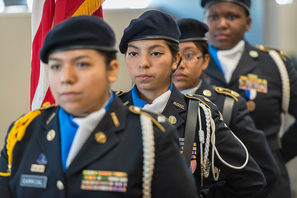The Milby High School JROTC color guard stands ready at a ribbon cutting ceremony at South Early College High School, October 8, 2016.