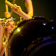 "April 9, 2011 - Manhattan, NY : Marco Lienhard of the New York-based Japanese music and dance group 'Taikoza' performs during the Japan Society's 12-hour-long special ""Concert For Japan"" charity event on Saturday.  (This was taken during the Open Concert: Taiko & Rock/Pop  Music set)... CREDIT: Karsten Moran for The New York Times."