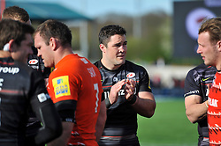 Brad Barritt of Saracens applauds the Leicester Tigers team off the pitch - Photo mandatory by-line: Patrick Khachfe/JMP - Mobile: 07966 386802 11/04/2015 - SPORT - RUGBY UNION - London - Allianz Park - Saracens v Leicester Tigers - Aviva Premiership
