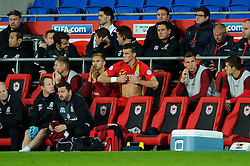 Gareth Bale of Wales (Real Madrid) prepares to come on off the bench during the second half of the match - Photo mandatory by-line: Rogan Thomson/JMP - Tel: Mobile: 07966 386802 10/09/2013 - SPORT - FOOTBALL - Cardiff City Stadium - Cardiff -  Wales V Serbia- World Cup Qualifier.