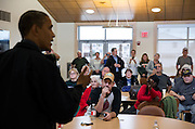 31.OCTOBER.2012. NEW JERSEY<br /> <br /> PRESIDENT BARACK OBAMA TALKS WITH LOCAL RESIDENTS AT THE BRIGANTINE BEACH COMMUNITY CENTER, WHICH IS SERVING AS A SHELTER FOR THOSE DISPLACED BY HURRICANE SANDY, IN BRIGANTINE, NEW JERSEY.  <br /> <br /> BYLINE: EDBIMAGEARCHIVE.CO.UK<br /> <br /> *THIS IMAGE IS STRICTLY FOR UK NEWSPAPERS AND MAGAZINES ONLY*<br /> *FOR WORLD WIDE SALES AND WEB USE PLEASE CONTACT EDBIMAGEARCHIVE - 0208 954 5968*