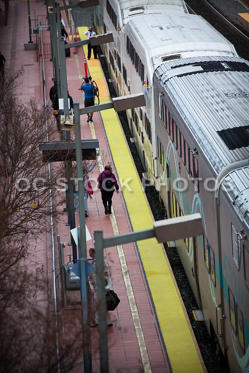 Metrolink Train Stopped At Station Track 2 Dropping Off Passengers