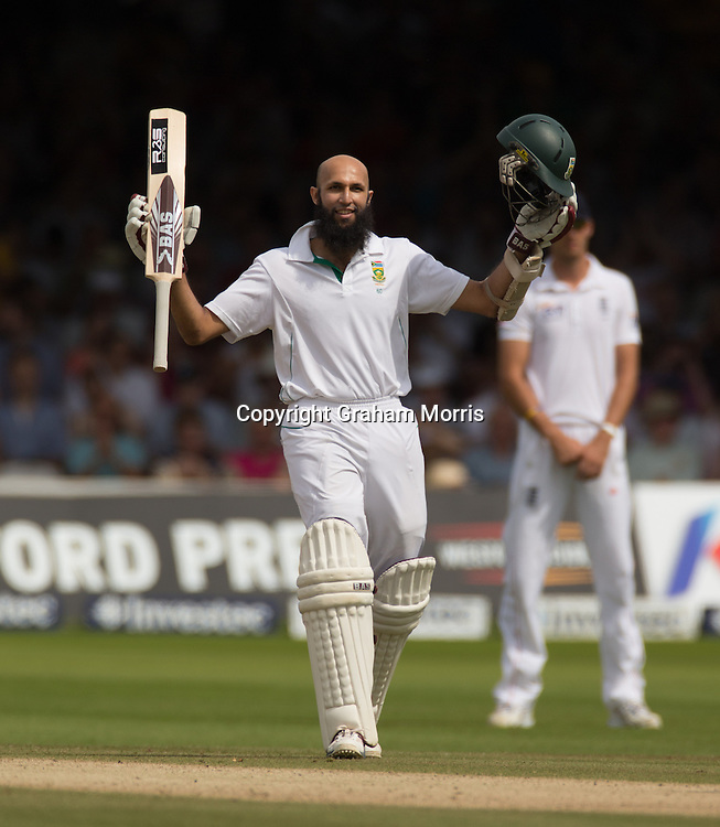 Hashim Amla celebrates his century during the third and final Investec Test Match between England and South Africa at Lord's Cricket Ground, London. Photo: Graham Morris (Tel: +44(0)20 8969 4192 Email: sales@cricketpix.com) 19/08/12